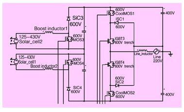 为了尽量降低回路中的寄生电感,最好是把对称的双boost电路和npc逆变