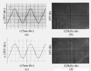 补偿前后输出电压及谐波分量的波形