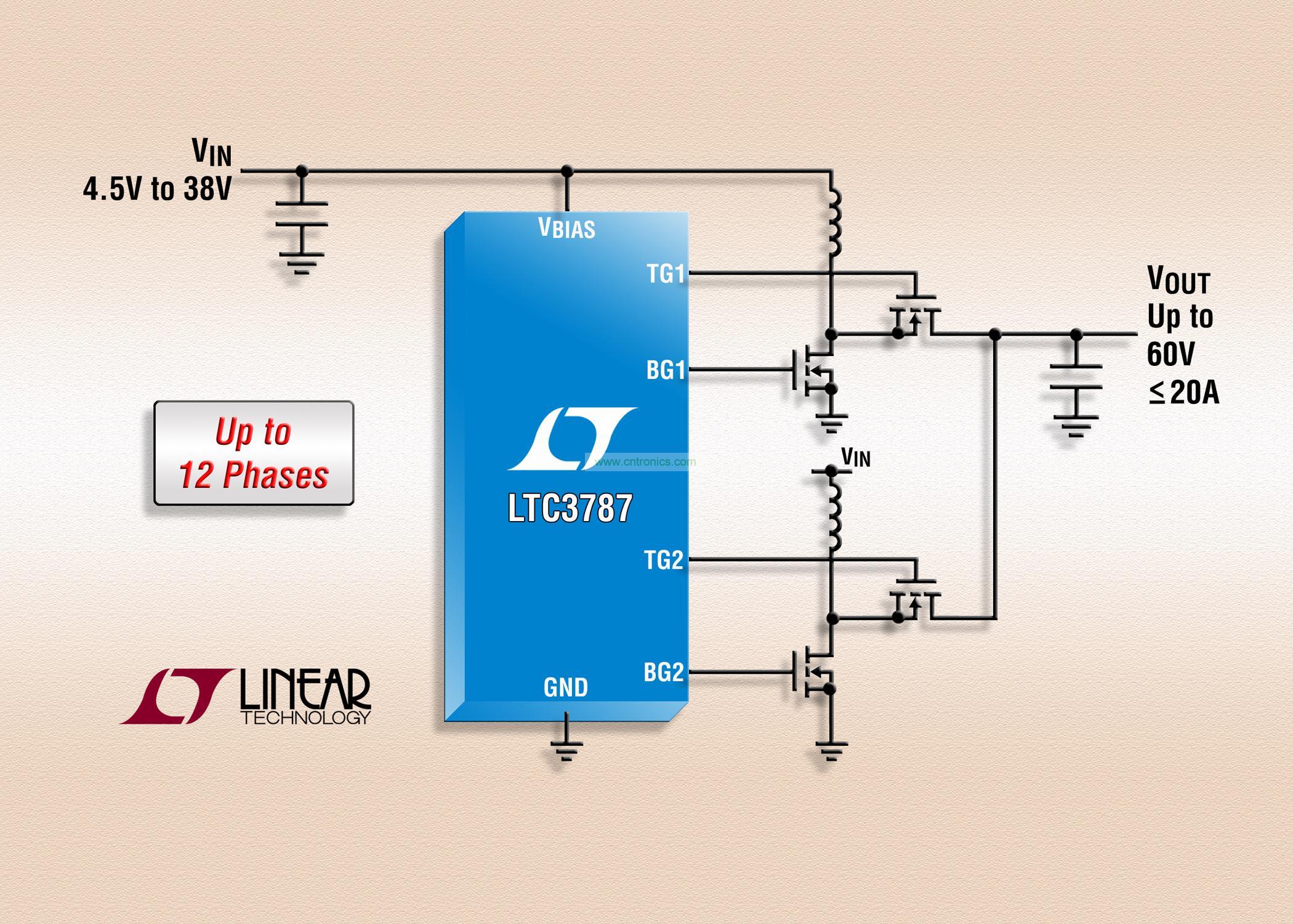 照片说明:60V 多相同步升压型 DC/DC 控制器