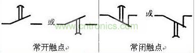 通电延时继电器的各种触点的图形符号