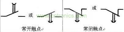 断电延时继电器的各种触点的图形符号