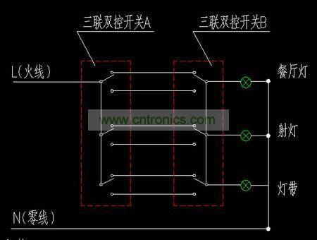 单联双控开关接线图 -双控开关的接法 基础知识 电子元件技术网电子百