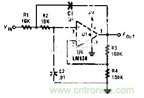 有源RC低通滤波器电路图
