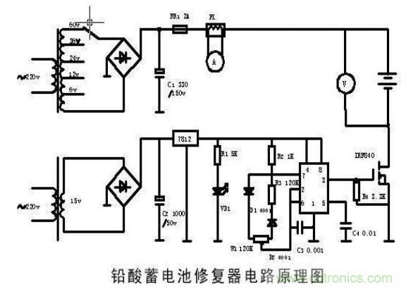 电动车蓄电池修复器电路