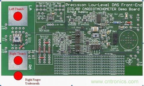 精密型低电平 ecg 心率计电路板的正面图