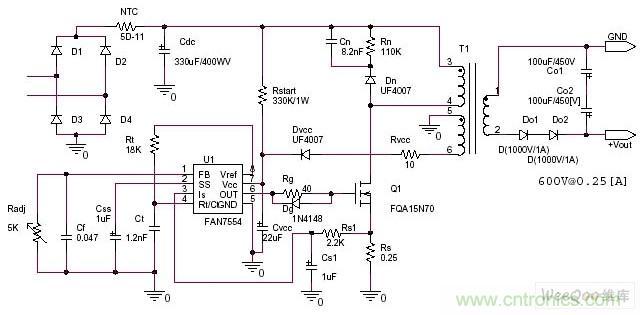 220v转直流600v开关电源电路图
