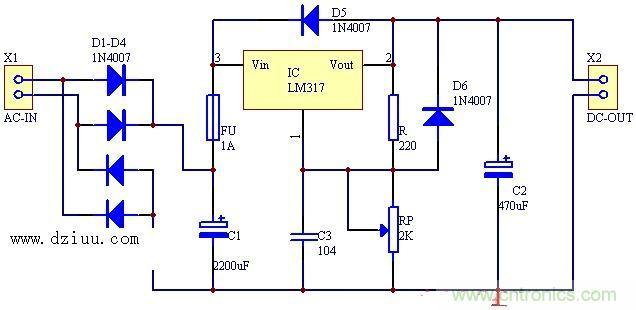 稳压电源电路 稳压电源电路图 直流稳压电源使用晶体管 低纹波直流稳压电源设计基于晶体管显示在这里。这种晶体管稳压器适用于需要高输出电流的应用。常规一系列综合监管机构,像7805只能提供高达1A。其他系列通晶体管被添加到7805稳压电路,为改善他们目前的能力。 说明 如下所示的电路是一个基本的基于晶体管的串联稳压器。晶体管Q1(2N 3054)和Q2(2N 3055),形成一个达林顿对。电阻R1 Q1的电流提供了基础,也保持在活跃的地区的齐纳二极管D2。解释两种情况可以证明该电路的整体工作。 当输入电压(