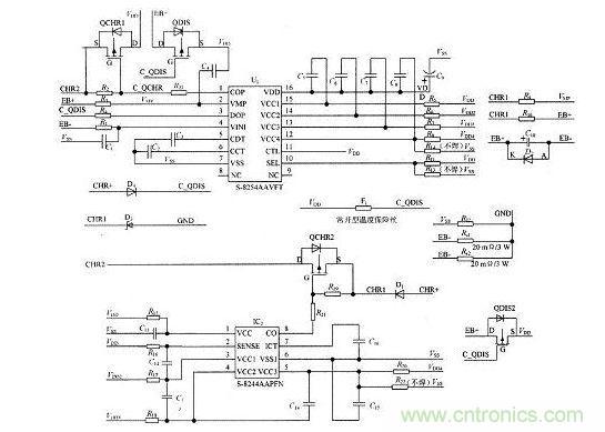 电路保护 >> 一种可实现充电锂电池三/四节串联保护