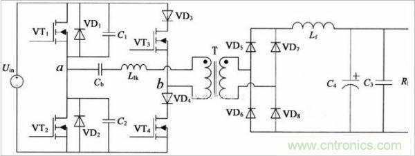 图1:1.2kw软开关直流电源电路结构简图 其基本工作原理如下: 当开关管VT1、VT4或VT2、VT3同时导通时,电路工作情况与全桥变换器的硬开关工作模式情况一样,主变压器原边向负载提供能量。通过移相控制,在关断VT1时并不马上关断VT4,而是根据输出反馈信号决定移相角,经过一定时间后再关断VT4,在关断VT1之前,由于VT1导通,其并联电容C1上电压等于VT1的导通压降,理想状况下其值为零,当关断VT1时刻,C1开始充电,由于电容电压不能突变,因此,VT1即是零电压关断。 由于变压器漏感L1k以及副
