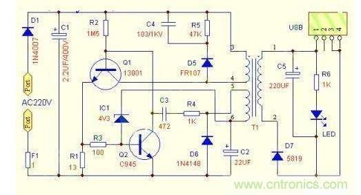 本电路虽然元件少,但是还设计有过流过载短路保护功能。当负载过载或者短路时,Q1的集电极电流大增,而Q1的发射极电阻R1会产生较高的压降,这个过载或者短路产生的高电压会经过R3让Q2饱和导通,从而让Q1截止停止输出防止过载损坏。因此,改变R1的大小,可以改变负载能力,如果要求输出电流小,例如只需要输出5V100MA,可以将R1阻值改大。当然,如果需要输出5V500MA的话,就需要将R1适当改小。注意:R1改小会增加烧坏Q1的可能性,如果需要大电流输出,建议更换13003、13007中大功率管。C4、R5、D
