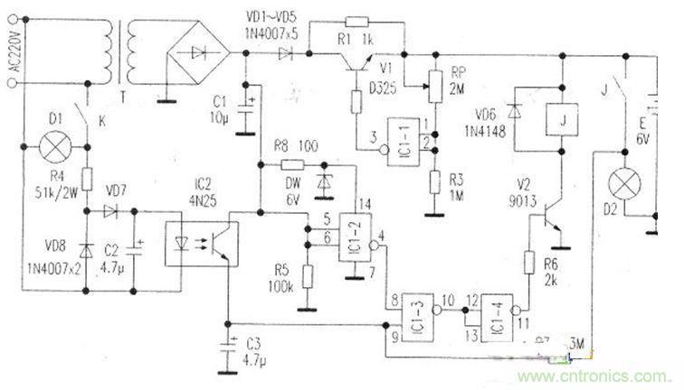工作原理 电路见图,电源变压器t和vd1—vd5等组成充电电源电路