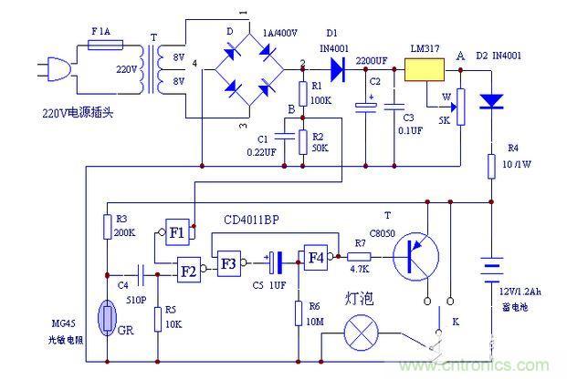 延时电路没有被触发输出高电平,驱动三极管 t不工作,应急灯不亮;当
