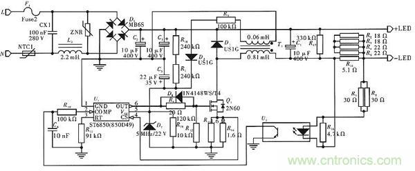 驱动电路原理图如图1所示,通过桥式整流器,电流直接被送到led负载的