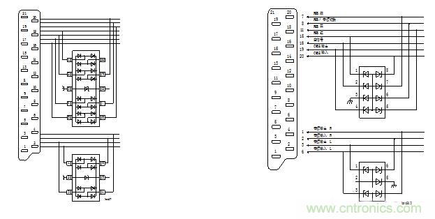 USB1.1、USB2.0、SD卡、MMC卡等接口,因为用户使用中经常性热插拔,板上的芯片非常容易受静电影响。这种应用场合不能使用普通的稳压管等信道进行保护,因为稳压管的反应速率太慢、且容性负载较大,会影响信道上的数据通信。NXP特提供以下方案供客户参考。 一、USB2.0的保护(PRTR5V0U4D用于双路USB) 下图为PRTR5V0U4D在双路USB应用中的连接示意图。    PRTR5V0U4D在双路USB中的应用