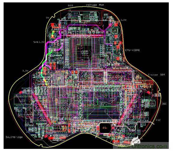 这片掌上电脑的12层电路板原型看起来很厉害,但是因为自动布线器搞砸
