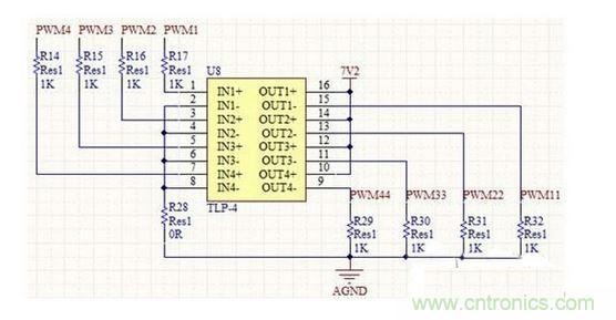 在电机驱动这里,需要注意一个细节,就是电机在转动过程中有可能会产生反向的电动势,使电流一瞬间过大,导致单片机复位甚至有可能烧坏芯片。因此在设计过程中,可以考虑在单片机PWM输入到电机驱动接口的地方添加光耦器件隔离或者二极管。如图5所示,驱动板选择了tlp521-4这种光耦器件设计隔离电路,减小电压的干扰,减化电路的设计,同时也把四路PWM的I/O电平从3.