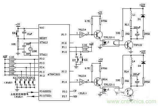 7输出,经74ls14反相后进入9014,经9014放大后控制光电开关,光电隔离后