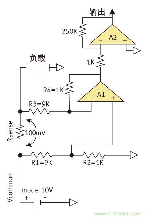 因此在差分放大器a1的输入端检测电压只有10mv