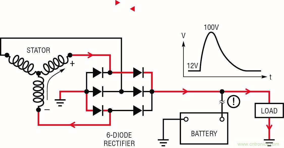 电池连接缺失,交流发电机