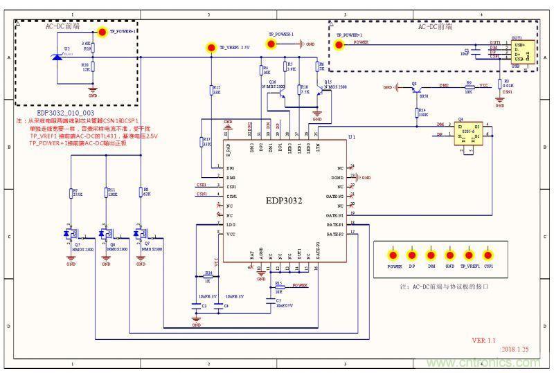 图3:电路原理图 3.PCB设计 (1)IC下面需敷铜散热,IC衬底要连接到PGND,散热面积尽量大,衬底焊盘打通孔到PCB底层,并适当露铜皮增强散热。 (2)LDO18脚的10uF电容要靠近芯片管脚;AGND用单点接连的方式回到PGND。 (3)采样电阻CSP,CSN端Layout应遵循如下规则:  CSP,CSN走线要尽量避开干扰源器件比如电感、环路MOS、Vout等;  CSP,CSN走线尽量在同一层,减少打孔的情况;  CSP,CSN两条线都必须靠近采样电阻,从采样电阻两端平行走线接入芯片且尽量
