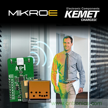 贸泽备货搭载KEMET 热释电红外传感器的Mikroe PIR Click board