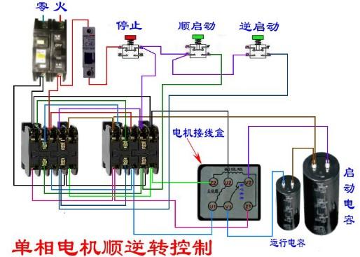 单相电机正反转电路图图片