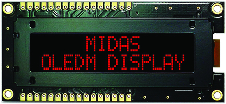 Midas 红色 无源矩阵 OLED 显示器, COB, 并行接口